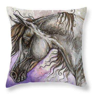 Pearl Arabian Horse Throw Pillow by Angel  Tarantella