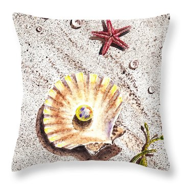 Pearl In The Seashell Sea Star And The Water Drops Throw Pillow by Irina Sztukowski