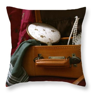 Pearls And Brush Set In A Suitcase Throw Pillow