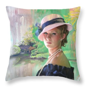 Pearls And Pink Throw Pillow by Rob Corsetti