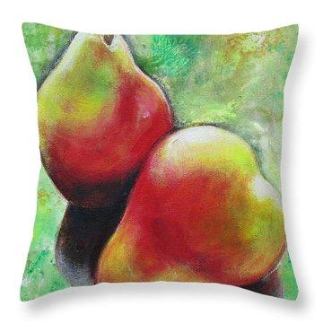 Pears 2 Throw Pillow by Sheila Diemert