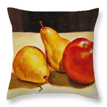 Throw Pillow featuring the painting Pears And Apple by Jimmie Bartlett