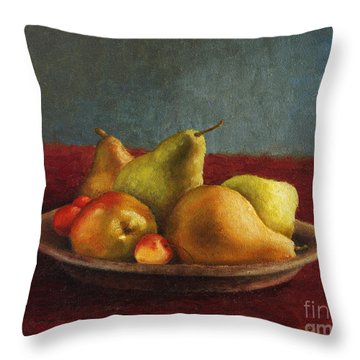 Pears And Cherries Throw Pillow