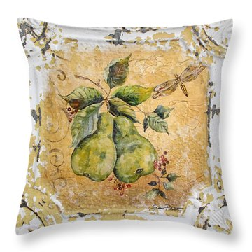 Pears And Dragonfly On Vintage Tin Throw Pillow by Jean Plout