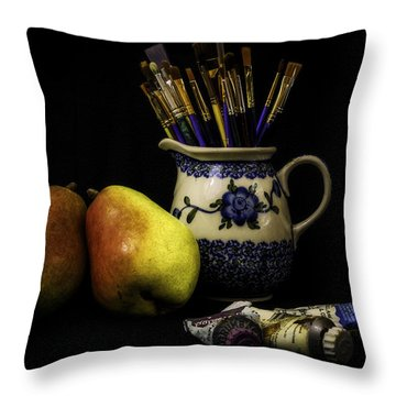 Pears And Paints Still Life Throw Pillow by Jon Woodhams