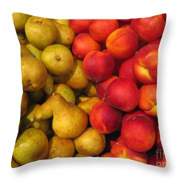 Pears And Peaches. Fresh Market Series Throw Pillow by Ausra Huntington nee Paulauskaite