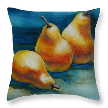 Throw Pillow featuring the painting Pears Of Three by Jani Freimann