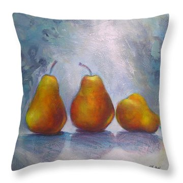 Throw Pillow featuring the painting Pears On Blue Original Acrylic Painting by Chris Hobel