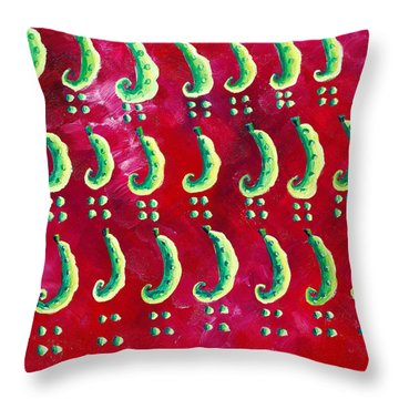 Peas On A Red Background Throw Pillow by Julie Nicholls