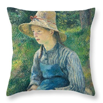 Peasant Girl With A Straw Hat Throw Pillow by Camille Pissarro
