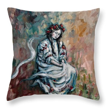 Peasant Of Peace Throw Pillow by Carrie Joy Byrnes