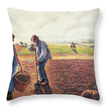 Peasants In The Field Eragny Throw Pillow by Camille Pissarro