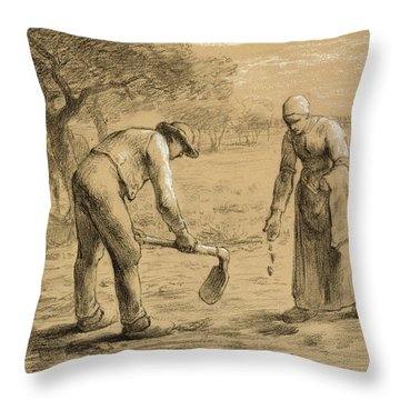 Peasants Planting Potatoes  Throw Pillow