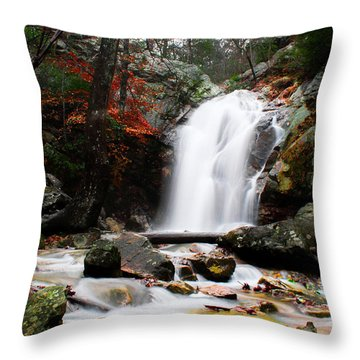 Peavine Falls In Autumn Throw Pillow by Shelby  Young