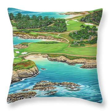 Pebble Beach 15th Hole-south Throw Pillow