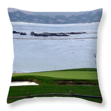 Pebble Beach 18th Flag Throw Pillow