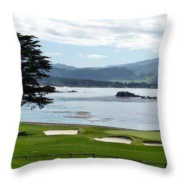 Pebble Beach 18th Green Carmel  Throw Pillow by Jeff Lowe