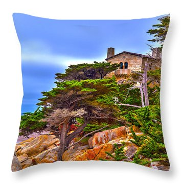 Pebble Beach Ca Throw Pillow