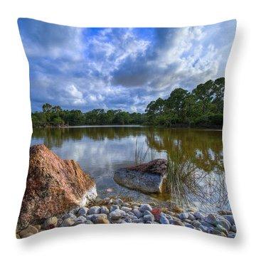 Pebble Beach Throw Pillow by Debra and Dave Vanderlaan