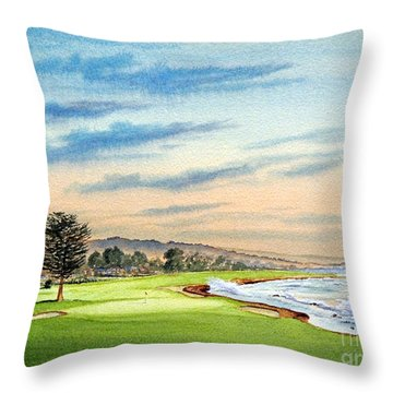 Pebble Beach Golf Course 18th Hole Throw Pillow by Bill Holkham