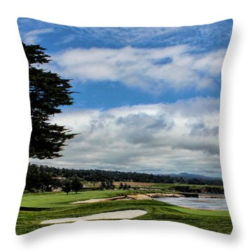 Pebble Beach - The 18th Hole Throw Pillow by Judy Vincent