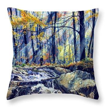 Pebble Creek Autumn Throw Pillow by Hanne Lore Koehler