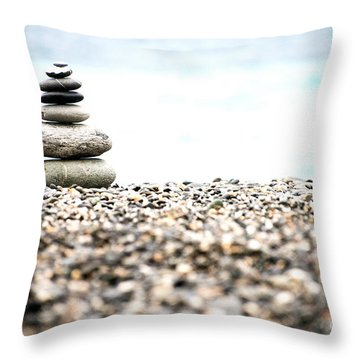 Pebble Stone On Beach Throw Pillow