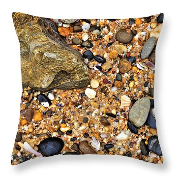 Pebbles And Sand Throw Pillow by Kaye Menner
