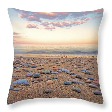 Pebbles On Beach Throw Pillow by Charline Xia