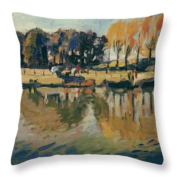 Throw Pillow featuring the painting Pecher A L'automne by Nop Briex