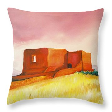 Throw Pillow featuring the painting Pecos Mission Nm by Eric  Schiabor