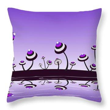 Peculiar Mushrooms Throw Pillow by Anastasiya Malakhova