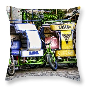 Pedicabs Manila Philippines Throw Pillow by Ron Roberts