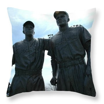 Pee Wee Reese - Jackie Robinson Throw Pillow by Susan Carella