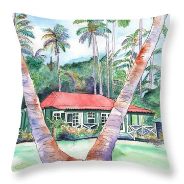 Peeking Between The Palm Trees 2 Throw Pillow by Marionette Taboniar