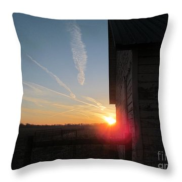 Peeking Through The Barn Sunrise Throw Pillow