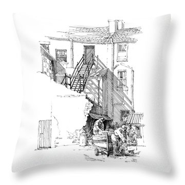 Throw Pillow featuring the drawing Peel Back Street by Paul Davenport