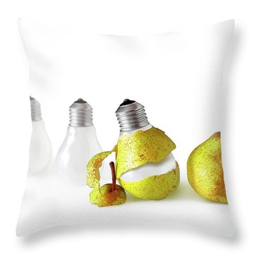 Peeled Bulb Throw Pillow by Carlos Caetano