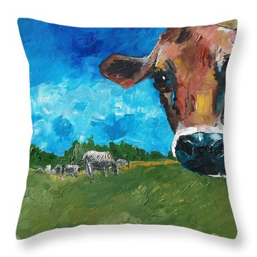 Peeping Bessie Throw Pillow