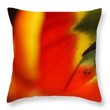 Throw Pillow featuring the photograph Peering Into The Heart Of A Tulip by Lisa Knechtel