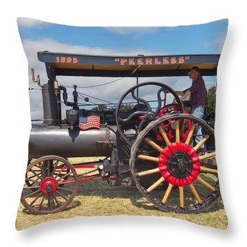 Peerless Steam Traction Engine Throw Pillow