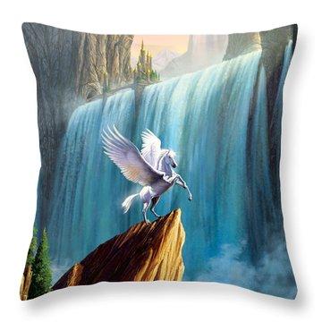 Pegasus Kingdom Throw Pillow by Garry Walton