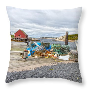 Peggy's Cove 2 Throw Pillow by Betsy Knapp