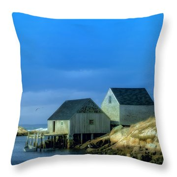 Peggy's Cove Fishing Shacks Throw Pillow