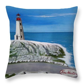 Peggy's Cove Throw Pillow by John Lyes