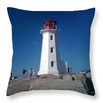 Peggy's Cove Lighthouse Throw Pillow by Brenda Brown
