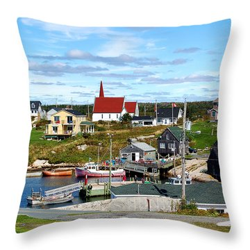 Throw Pillow featuring the photograph Peggys Cove by Ron Haist