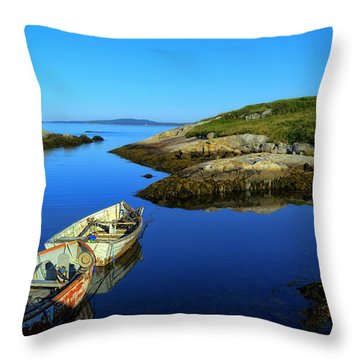 Peggys Cove Row Boats Throw Pillow by Ken Morris