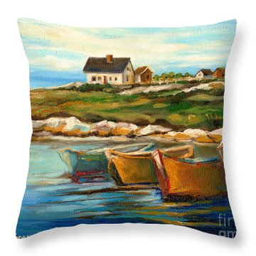 Peggys Cove With Fishing Boats Throw Pillow by Carole Spandau