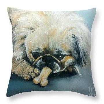 Pekinese And The Bone Throw Pillow